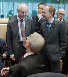 Herman Van Rompuy, president of the European Council, left and Luc Frieden, Luxembourg's finance minister, right, greet Wolfgang Schaeuble, Germany's finance minister, center, during the first meeting of the Van Rompuy task force on economic governance, in Brussels, on Friday, May 21, 2010. (Photo © Jock Fistick)