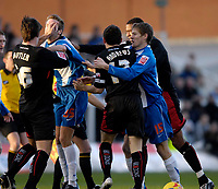 Photo: Jed Wee/Sportsbeat Images.<br /> Hartlepool United v Milton Keynes Dons. Coca Cola League 2. 13/01/2007.<br /> <br /> A free for all breaks out as tempers flare in the first half.