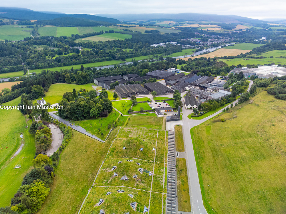 Aerial view from drone of Macallan single malt scotch whisky distillery on Speyside at Craigellachie, Moray, Scotland, UK