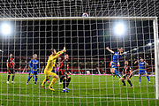 Ryan Yates (22) of Nottingham Forset heads his shot at goal over the bar during the EFL Sky Bet Championship match between Bournemouth and Nottingham Forest at the Vitality Stadium, Bournemouth, England on 24 November 2020.