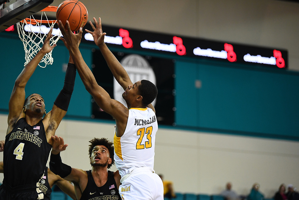 Conway, SC - November 18, 2018 - HTC Center: Torry Johnson (4) of the of the Wake Forest University Demon Deacons during the 2018 Myrtle Beach Invitational.<br /> (Photo by Joe Faraoni / ESPN Images)