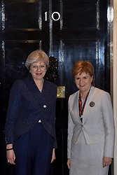 © Licensed to London News Pictures. 14/11/2017. London, UK.  Nicola Sturgeon, First Minister of Scotland, meets Theresa May, Prime Minister, for talks in Number 10 Downing Street.  Photo credit: Stephen Chung/LNP