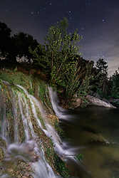 Waterfall flowing into Block Creek at night, swollen by recent rains, Block Creek Natural Area, Hill Country, Texas, USA