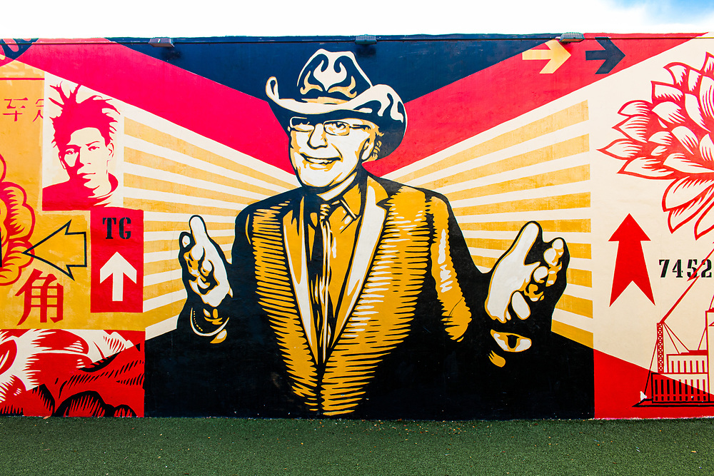 The late Tony Goldman, founder of The Wynwood Walls, is memorialized there in this mural by street startist Shephard Fairey.