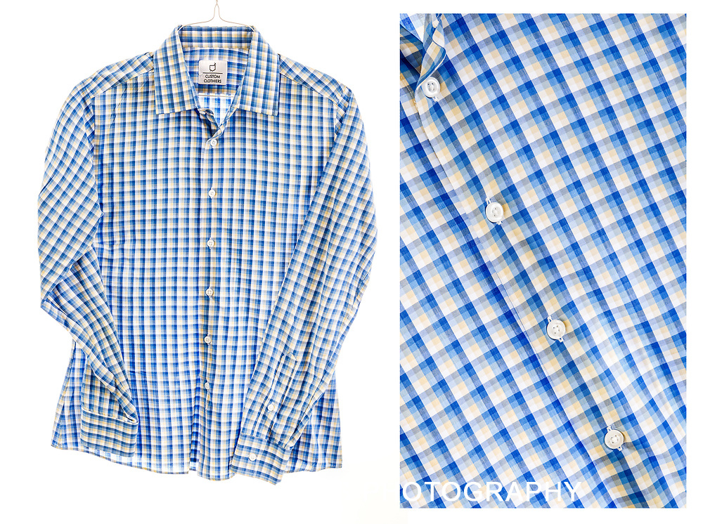 Overhead flat lay view of a long sleeve shirt