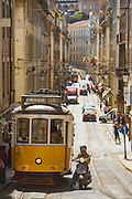 Lisbon tram line 28 passes through Baixa (downtown) district and is the longest line of trams which cross the city.