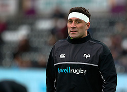 Ospreys' Kieron Fonotia during the pre match warm up<br /> <br /> Photographer Simon King/Replay Images<br /> <br /> Guinness PRO14 Round 19 - Ospreys v Connacht - Friday 6th April 2018 - Liberty Stadium - Swansea<br /> <br /> World Copyright © Replay Images . All rights reserved. info@replayimages.co.uk - http://replayimages.co.uk