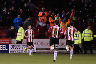 Jamie Murphy celebrates his second goal during the Sky Bet League 1 match between Sheffield Utd and Swindon Town at Bramall Lane, Sheffield, England on 31 January 2015. Photo by David Charbit.