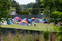 Pic of remains of the campsite, Monday after the T in the Park 2016 weekend, Strathallan Castle, Perthshire.