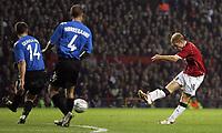 Photo: Paul Thomas.<br /> Manchester United v FC Copenhagen. UEFA Champions League, Group F. 17/10/2006.<br /> <br /> Paul Scholes scores for Man Utd.