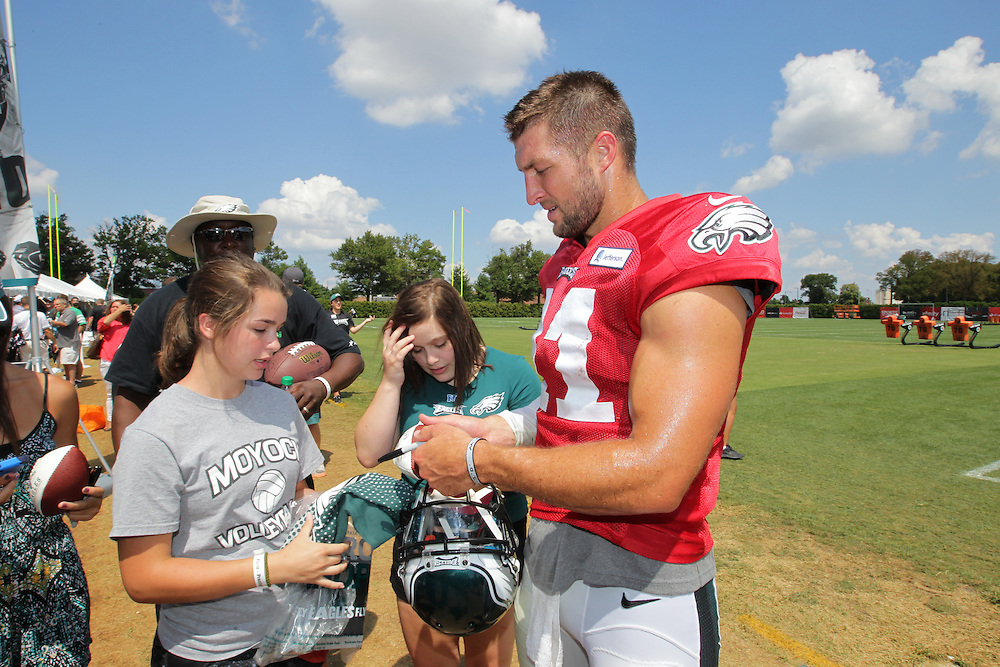 150805 Philadelphia Eagles Training Camp at NovaCare Complex; Tim Tebow