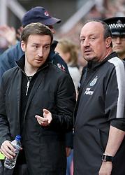Newcastle United manager Rafa Benitez and Hearts head coach Ian Cathro (left) before the pre-season friendly at Tynecastle Stadium, Edinburgh.