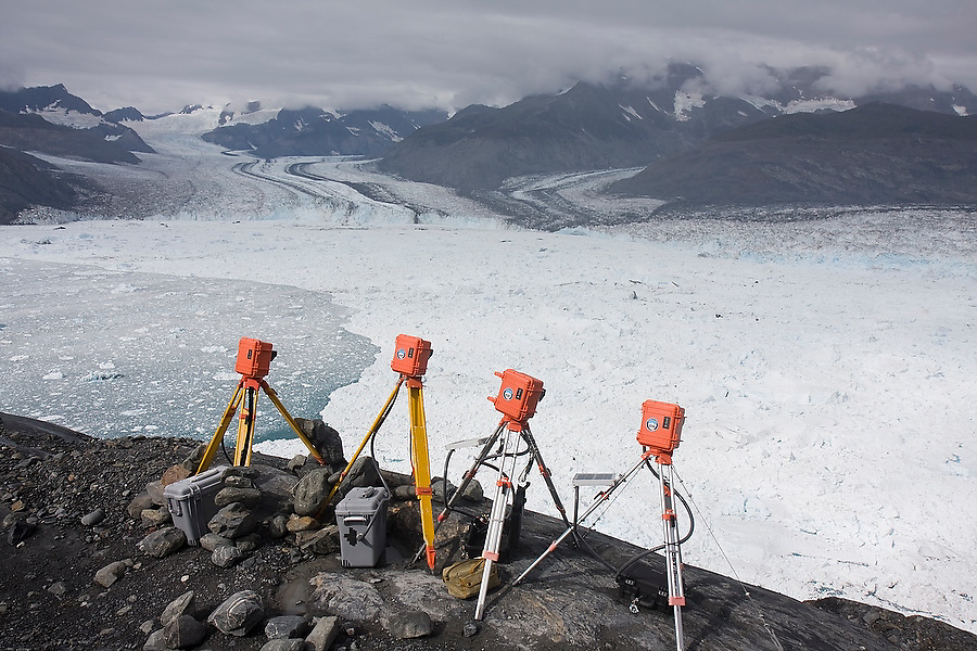 Extreme Ice Survey time lapse cameras stand vigil over the terminus of the Columbia Glacier, near Valdez, Alaska, documenting in unprecedented detail the glacier's dynamic retreat.
