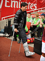 Samir Nasri arrives on his Crutches<br /> Arsenal 2009/10<br /> Arsenal V Atletico Madrid 01/08/09 at the Emirates Stadium<br /> The Emirates Cup 2009<br /> Photo Robin Parker Fotosports International