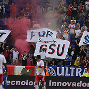 New York Red Bulls fans with banners during a protest to management during the New York Red Bulls V Montreal Impact, Major League Soccer regular season match at Red Bull Arena, Harrison, New Jersey. USA. 13th July 2013. Photo Tim Clayton