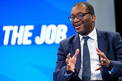 © Licensed to London News Pictures. 03/10/2021 Manchester, UK. Kwasi Alfred Addo Kwarteng MP, Secretary of State for Business, Energy and Industrial Strategy speaking Conservative Party Conference. Photo credit: Jess Hurd/LNP
