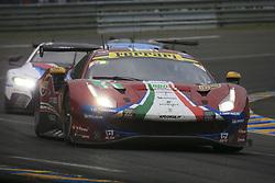 June 16, 2018 - Le Mans, FRANCE - 71 AF CORSE (ITA) FERRARI 488 GTE EVO GTE PRO DAVIDE RIGON (ITA) SAM BIRD (GBR) MIGUEL MOLINA  (Credit Image: © Panoramic via ZUMA Press)
