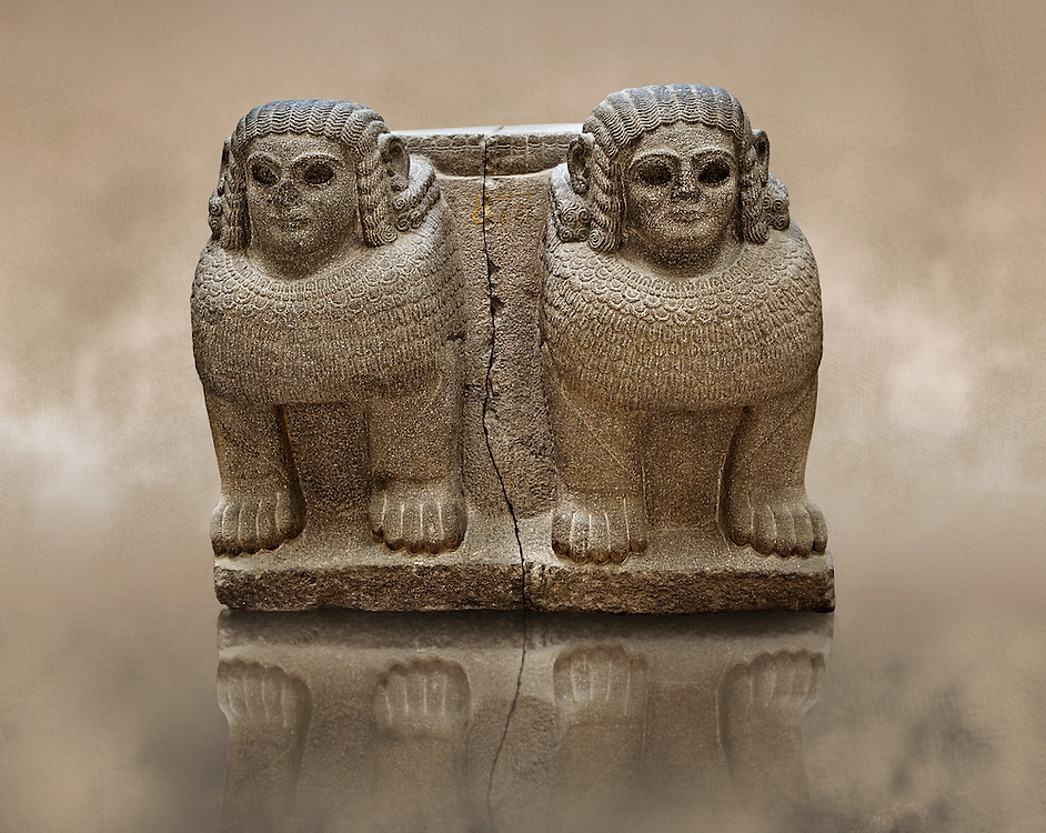 Late Hittite (Aramaean)  Basalt Double Sphinx  sculpture from 9th Cent B.C, excavated from the entrance of Palace III Sam'al (Hittite: Yadiya) located at Zincirli Höyük in the Anti-Taurus Mountains of modern Turkey's Gaziantep Province. Istanbul Archaeological Museum Inv. No 7731. Late Hittite (Aramaean)  Basalt relief sculpture of an Aslan Lion from 9th Cent B.C, excavated from the west side of the citadel gate of Sam'al (Hittite: Yadiya) located at Zincirli Höyük in the Anti-Taurus Mountains of modern Turkey's Gaziantep Province. Istanbul Archaeological Museum Inv. No 7727. .<br />  <br /> If you prefer to buy from our ALAMY STOCK LIBRARY page at https://www.alamy.com/portfolio/paul-williams-funkystock/hittite-art-antiquities.html  - Type -   Samal   - into the LOWER SEARCH WITHIN GALLERY box. Refine search by adding background colour, place, museum etc<br /> <br /> Visit our HITTITE PHOTO COLLECTIONS for more photos to download or buy as wall art prints https://funkystock.photoshelter.com/gallery-collection/The-Hittites-Art-Artefacts-Antiquities-Historic-Sites-Pictures-Images-of/C0000NUBSMhSc3Oo