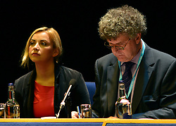 © Licensed to London News Pictures. 09/10/2012. Birmingham, UK  Charlotte Church sits next to Professor Steve Barnett after talking at a 'Hacked Off' press conference at The Conservative Party Conference at the ICC today 10th October 2012. Photo credit : Stephen Simpson/LNP