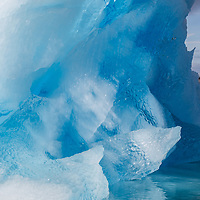'Trapped' - This amazing blue ice portion of a large iceberg appears to contain a face trapped in the ice.  This iceberg was also, the home of the Ice Crocodile.
