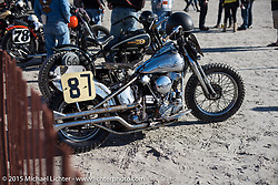 All chrome Harley-Davidson Panhead at the Race of Gentlemen. Wildwood, NJ, USA. October 10, 2015.  Photography ©2015 Michael Lichter.