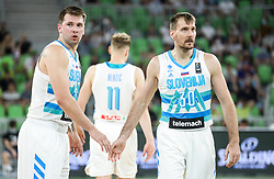 Luka Doncic of Slovenia and Zoran Dragic of Slovenia during friendly basketball match between National teams of Slovenia and Croatia, on June 18, 2021 in Arena Stozice, Ljubljana, Slovenia. Photo by Vid Ponikvar / Sportida