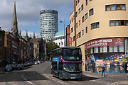 As numbers of Covid-19 cases in Birmingham have dramatically risen in the past week, increased lockdown measures have been announced for Birmingham and other areas of the West Midlands, a bus to Solihull passes in the city centre on 12th September 2020 in Birmingham, United Kingdom. With the rule of six also being implemented the Birmingham area has now be escalated to an area of national intervention, with a ban on people socialising with people outside their own household, unless they are from the same support bubble.