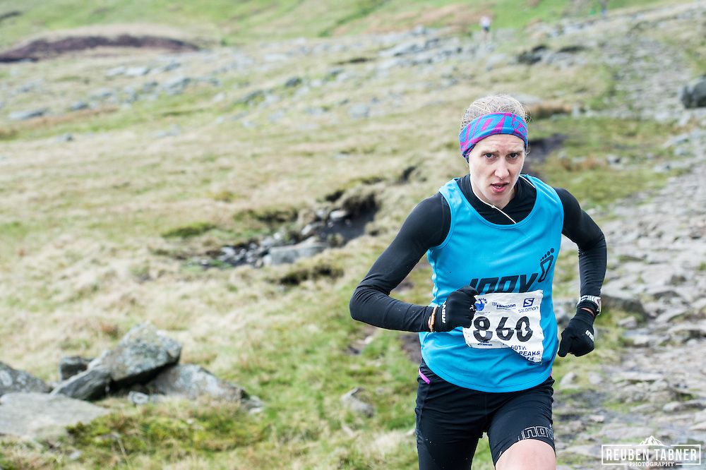 Victoria Wilkinson makes her way down Ingleborough in the Yorkshire Dales during the 60th Yorkshire Three Peaks Race.