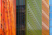 Coloured terracotta facade detail of Central St Giles. Architects: Renzo Piano Building Workshop with Fletcher Priest. London, 2010. Six different colours of ceramic terracotta cladding are used on the facade.
