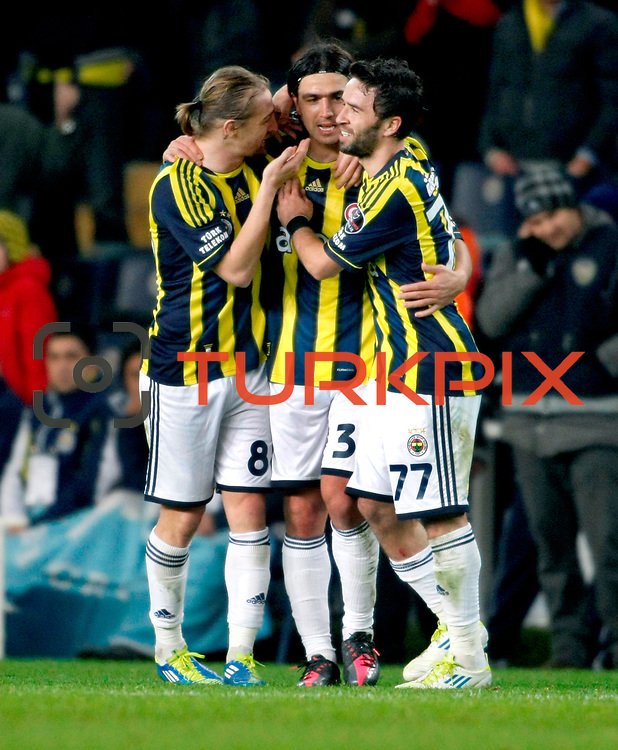 Fenerbahce's Mehmet Topuz (C) celebrate his goal during their Turkish superleague soccer match Fenerbahce between Gaziantepspor at the Sukru Saracaoglu stadium in Istanbul Turkey on Monday09 January 2011. Photo by TURKPIX