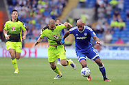 Cardiff City's Frederic Gounongbe (r) holds off Reading's Joey Van Den Berg. EFL Skybet championship match, Cardiff city v Reading at the Cardiff city stadium in Cardiff, South Wales on Saturday 27th August 2016.<br /> pic by Carl Robertson, Andrew Orchard sports photography.