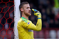 Daniel Bentley , the goalkeeper of Brentford makes a point. EFL Skybet football league championship match, Brentford v Sheffield Wednesday at Griffin Park in London on Saturday 30th December 2017.<br /> pic by Steffan Bowen, Andrew Orchard sports photography.