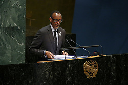 UNITED NATIONS, April 12, 2019  Rwandan President Paul Kagame addresses the commemoration ceremony of the International Day of Reflection on the Genocide in Rwanda, at the UN headquarters in New York, on April 12, 2019. Twenty-five years after the Rwanda genocide, UN Secretary-General Antonio Guterres on Friday warned of rising xenophobia at a UN commemoration ceremony, while praising the recovery the country has achieved since the tragedy. In 2003, the UN General Assembly designated April 7 as the International Day of Reflection on the Genocide in Rwanda. (Credit Image: © Li Muzi/Xinhua via ZUMA Wire)