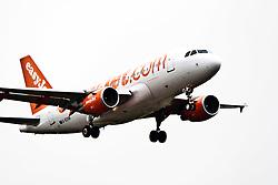 An easyJet plane on approach to Edinburgh airport..©Pic : Michael Schofield.