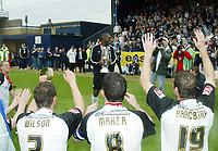 Photo: Chris Ratcliffe.<br />Southend United v Bristol City. Coca Cola League 1. 06/05/2006.<br />Shaun Goater of Southend United crying at the end after his last professional game as Southend players pay homage to him.