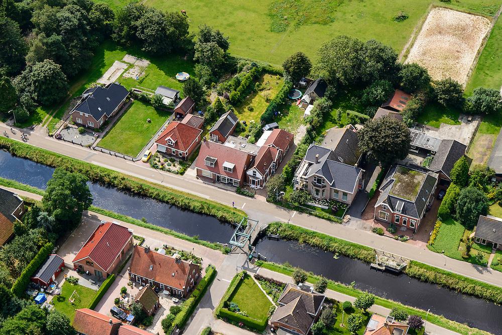 Nederland, Drenthe, Gemeente Hoogezand-Sappemeer, 27-08-2013; Kiel-Windeweer, lintdorp. Oude veenkolonie <br /> Kiel-Windeweer ribbon development. Old peat colony.<br /> luchtfoto (toeslag op standaard tarieven);<br /> aerial photo (additional fee required);<br /> copyright foto/photo Siebe Swart.