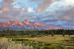 """Grand Teton Sunrise over Moose Flats in Grand Teton National Park.<br /> <br /> For production prints or stock photos click the Purchase Print/License Photo Button in upper Right; for Fine Art """"Custom Prints"""" contact Daryl - 208-709-3250 or dh@greater-yellowstone.com"""