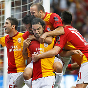 Galatasaray's Selcuk INAN (C) celebrate his goal with team mate during their Turkish Super League soccer match Galatasaray between Samsunspor at the Turk Telekom Arena at Seyrantepe in Istanbul Turkey on Sunday, 18 September 2011. Photo by TURKPIX