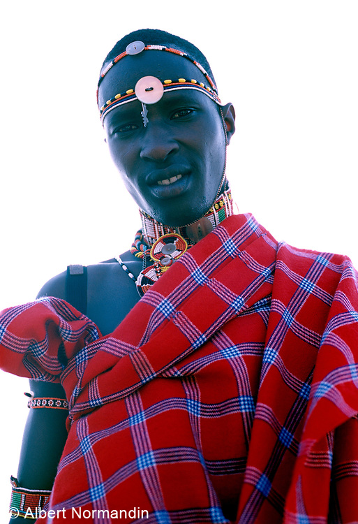 Maasai guide in full red clothing in Samburu National Reserve