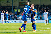 Gillingham FC midfielder Mark Byrne (33) scores a goal (1-1) and celebrates with team mate Gillingham FC forward Graham Burke (10) during the EFL Sky Bet League 1 match between Gillingham and Rochdale at the MEMS Priestfield Stadium, Gillingham, England on 30 March 2019.