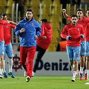 Trabzonspor's players warm-up prior to the Turkish super league soccer derby Fenerbahce between Trabzonspor at the Sukru Saracaoglu stadium in Istanbul Turkey on Monday 30 November 2015. Photo by Kurtulus YILMAZ/TURKPIX