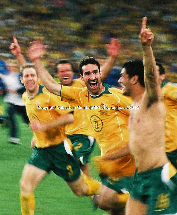 Socceroos celebrations after quilifiying for the 2006 Germany Worlcup, defiting Uruguay on penalties
