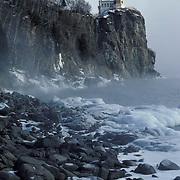 Split Rock Lighthouse on the shores of Lake Superior. Winter. Minnesota.