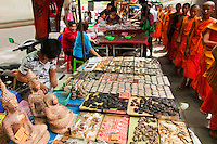 Adjacent to Wat Mahathat is Bangkok's biggest amulet market, where a fantastic array of religious amulets, charms, talismans and traditional medicine is sold..Here hundreds buyers and sellers squat on the ground, studying tiny images of the Buddha with magnifying glasses, hoping to find one that will bring good fortune or ward off evil. Each type of amulet brings a specific kind of luck: to get the girl, to pass your exams, to keep bugs out of your rice stock, or to ward off diseases or even your mother-in-law.