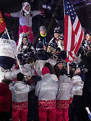 February 25, 2018 - Pyeongchang, KOR - Jessie Diggins carries the flag for Team USA at the Closing Ceremony of the 2018 Pyeongchang Winter Olympics on Sunday, February 25, 2018 in South Korea. (Credit Image: © Carlos Gonzalez/TNS via ZUMA Wire)