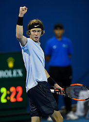 Andrey Rublev of Russia react during their semi final  of ATP Qatar Open Tennis match against  Guido Pella of Argentina at the Khalifa International Tennis Complex in Doha, capital of Qatar, on January 05, 2018. Andrey Rublev won 2-1  (Credit Image: © Nikku/Xinhua via ZUMA Wire)