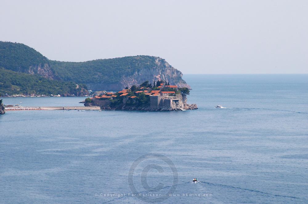 The Sveti Stefan Saint Steven island on the Budva Riviera. Montenegro, Balkan, Europe.