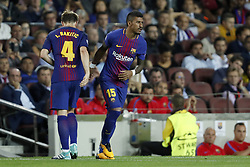 (L-R) Ivan Rakitic of FC Barcelona, Paulinho of FC Barcelona during the UEFA Champions League group D match between FC Barcelona and Juventus FC  on September 12, 2017  at the Camp Nou stadium in Barcelona, Spain.