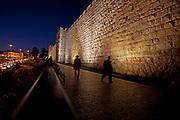 Jerusalem, Old City. The illuminated walls at night