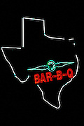 Image of a neon Bar B-Q sign in Houston, Texas, American South by Randy Wells